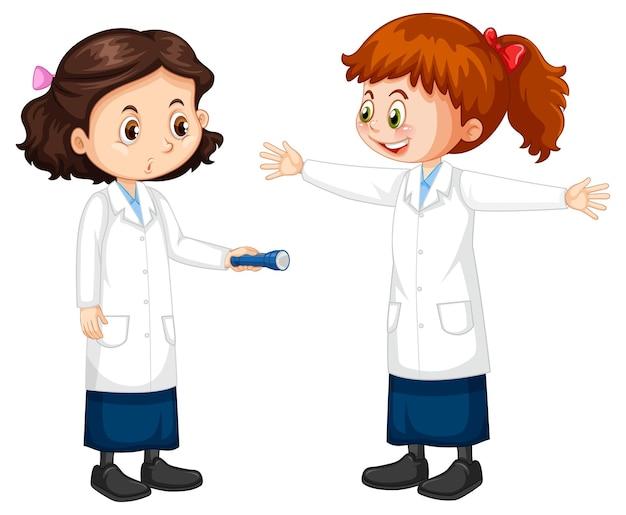 Zwei wissenschaftler-mädchen-cartoon-figur, die miteinander reden