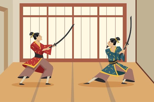 Zwei zeichentrick-samurai-figuren, die mit schwertern gegeneinander kämpfen. flache illustration. asiatische krieger, die traditionellen kimono tragen und in kämpfenden posen stehen. asien, samurai, kampf, kulturkonzept