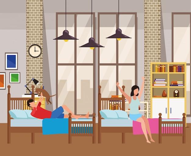 Zweibettzimmer und gesichtslose menschen