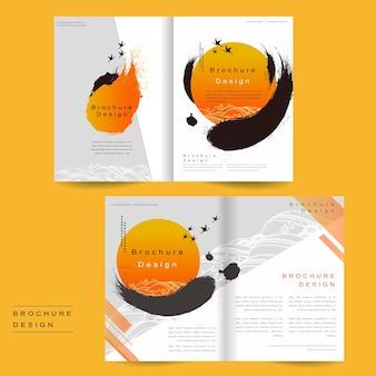 Zweifach gefaltetes broschürenvorlagendesign mit tintenpinsel und geometrischer grafik