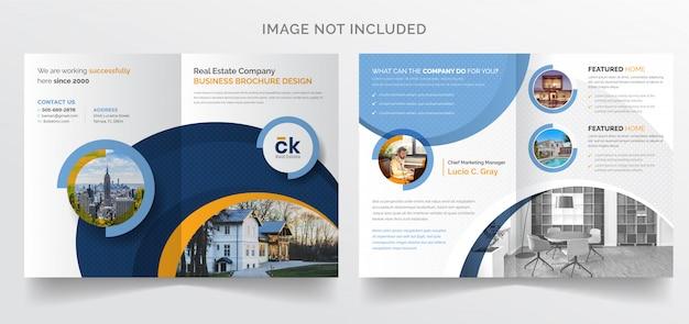 Zweifache broschürenvorlage für moderne unternehmensgeschäfte für immobilien