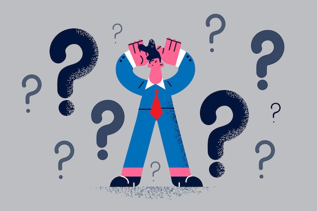 Zweifel, gefühl nicht selbstbewusstes konzept. junge frustrierte geschäftsmann-cartoon-figur, die denkt und versucht, sich mit fragezeichen über der vektorgrafik zu entscheiden