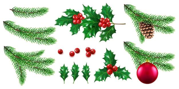 Zweig der kiefer mit neujahrs- und weihnachtsspielzeug, zweig der tanne mit kegel, stechpalmenbeere.