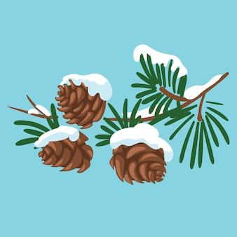 Zweig eines weihnachtsbaumes mit zapfen. ein karikaturzweig von tannen mit schnee. winterillustration für kinder.