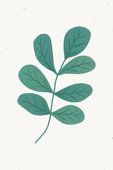 Zweig mit gestaltungselement der grünen blätter