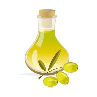 Zweig mit oliven und flasche olivenöl