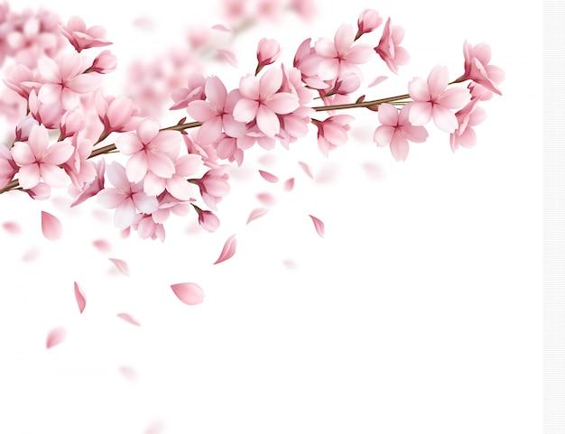 Zweig mit schönen sakura blumen und fallenden blütenblättern realistische zusammenstellungsillustration
