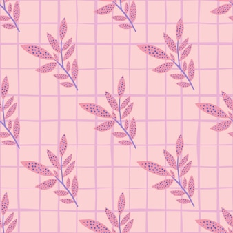 Zweig verlässt nahtloses gekritzelmuster. blumensilhouetten und hintergrund mit check in der rosa farbpalette.
