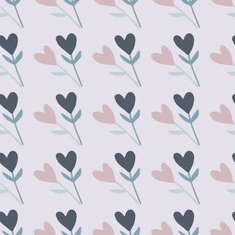 Zweige mit nahtlosem gekritzelmuster der herzblume. hellblauer hintergrund und pastellblaue und rosa elemente.