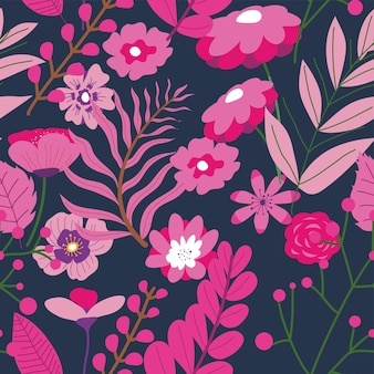 Zweige mit üppigen blättern und blühenden blüten. blühende pflanze, exotische oder tropische botanik. natürlicher romantischer blumenhintergrund oder druck. saisonale blüte. nahtloses muster, vektor im flachen stil