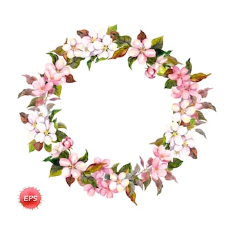 Zweige von apfelblüten oder kirschblüten