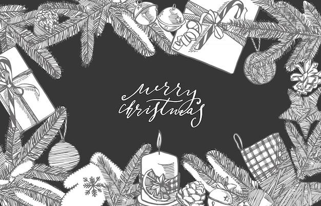 Zweige von weihnachtsbäumen und weihnachtsbaumspielzeug. neujahrs- und weihnachtsgestaltungselemente. . weinleseillustration.