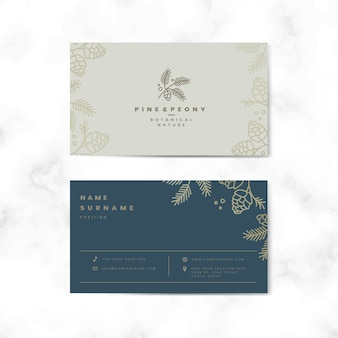 Zweiseitige blumennamenskarte