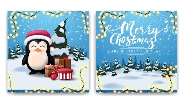 Zweiseitige postkarte des weihnachtsplatzes mit karikaturwinterlandschaft und pinguin im weihnachtsmannhut