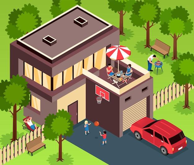 Zweistöckiges modernes vorstadthaus mit holzdeck-garage, umgeben von grünem rasen