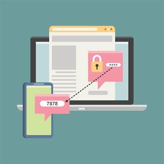 Zweistufige authentifizierungsvektorillustration flache illustration smartphone- und computersicherheitsanmeldung