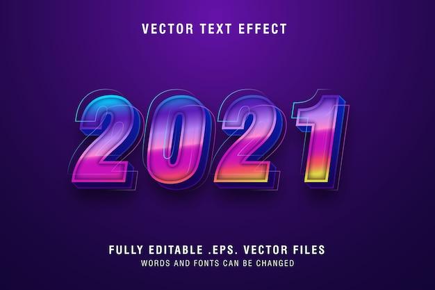 Zweitausend twentyone text-stileffekt bearbeitbar
