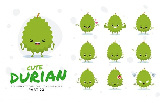 Zweiter satz von cartoonbildern von durian.