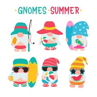 Zwerge sommer. gnome tragen hüte und sonnenbrillen für sommerausflüge an den strand.
