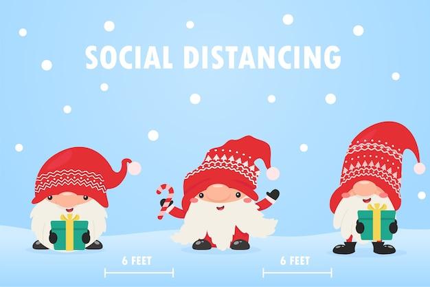 Zwerggnome tragen masken und verlassen den sozialen raum, um die korona zu weihnachten zu verhindern.