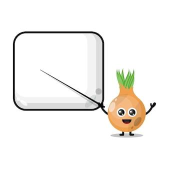 Zwiebel wird zu einem süßen charaktermaskottchen des lehrers