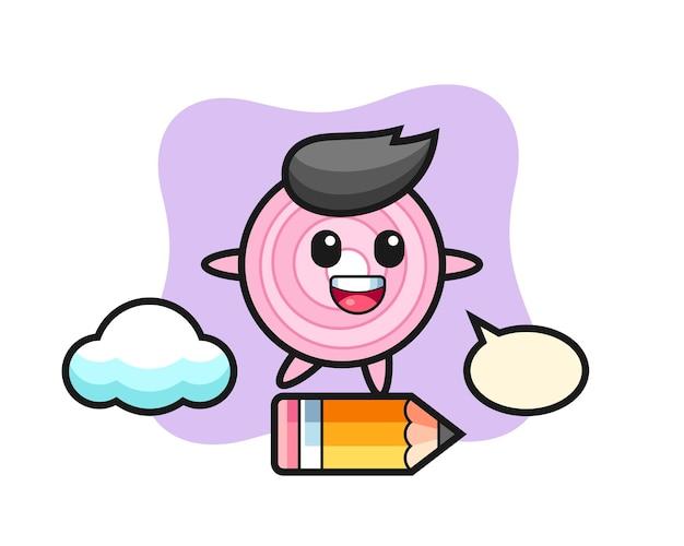 Zwiebelringe-maskottchen-illustration, die auf einem riesigen bleistift reitet, niedliches design für t-shirt, aufkleber, logo-element