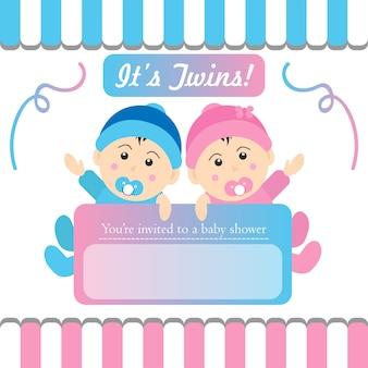 Zwillinge-babyparty-einladung
