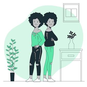 Zwillinge konzeptillustration