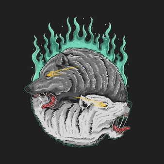 Zwillingswolfillustration