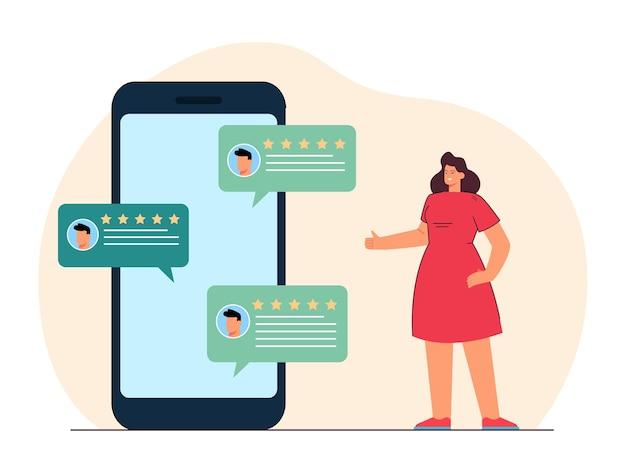 Zwinkernde frau, die positive bewertungen auf einem riesigen telefon liest. app mit fünf-sterne-bewertungen flache illustration
