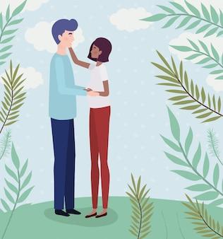 Zwischen verschiedenen rassen liebhaber verbinden schwangerschaftscharaktere in der landschaft