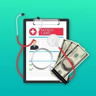 Zwischenablage in der hand des arztes. machen sie sich notizen in der patientenkarte. medizinischer bericht. analyse- oder rezeptkonzept. vektor-illustration.