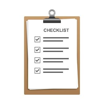 Zwischenablage mit checkliste