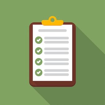 Zwischenablage mit checklisten-symbol mit langen schatten