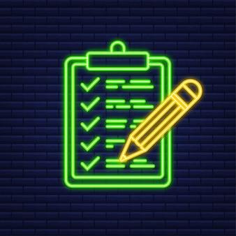 Zwischenablage mit checklistensymbol. neon-symbol. zwischenablage mit checklistensymbol für das web. vektor-illustration.
