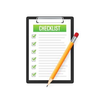Zwischenablage mit checklistensymbol. zwischenablage mit checklistensymbol für das web. vektor-illustration.
