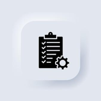 Zwischenablage mit isoliertem zahnradsymbol. symbol für die checkliste für den technischen support. management-konzept. software-entwicklung. neumorphic ui ux weiße benutzeroberfläche web-schaltfläche. neumorphismus. vektor-eps 10.