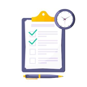 Zwischenablage mit kompletter checkliste flache design-ikonen-zeichen-vektor-illustration
