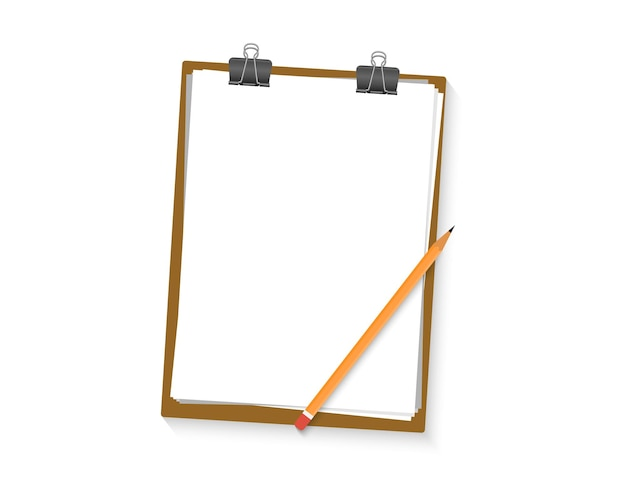 Zwischenablage mit leerem weißem blatt und bleistift. rand der papierzwischenablage. leeres leeres zwischenablagemodell. freier platz für text