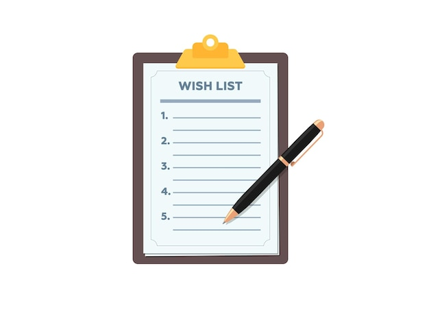 Zwischenablage mit leerer wunschliste und stift-wunschlisten-formularpapier mit flachem vektor-illustrationszeichen