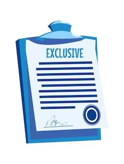 Zwischenablage mit papierdokument, unterschriftenvereinbarung mit siegel, karikaturvektorillustration lokalisiert auf weiß