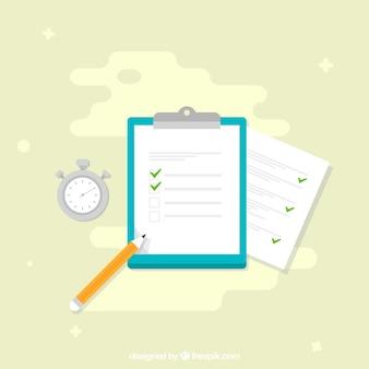 Zwischenablage mit umfrage und chronometer