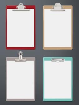Zwischenablage realistisch. papier leere tablette bürobedarf blatt zwischenablage vektor-vorlage. zwischenablage für büroarbeit, leere pad-seitenillustration
