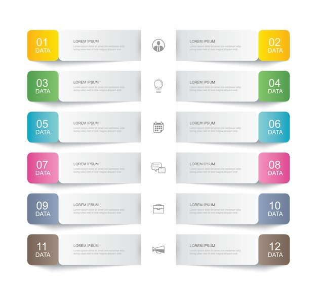 Zwölf dateninfografiken registerkarte papier papier dünne linie indexvorlage. kann für workflow-layout, geschäftsschritt, banner, webdesign verwendet werden.