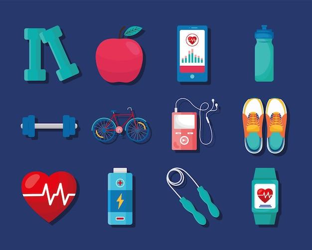 Zwölf gesundheits-app-symbole