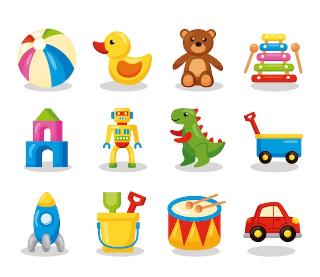 Zwölf kinderspielzeug-set-ikonen