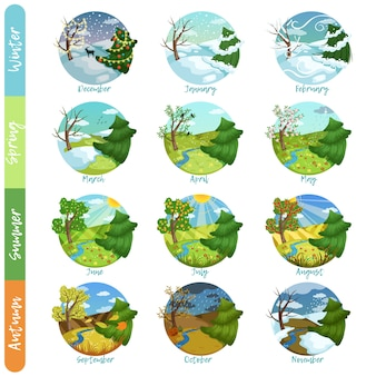 Zwölf monate des jahres eingestellt, vier jahreszeiten naturlandschaft winter, frühling, sommer, herbst illustrationen