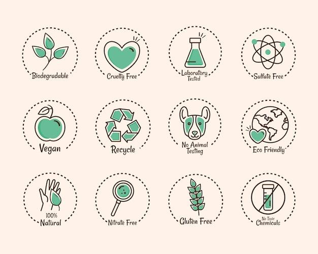 Zwölf produktetikettensymbole