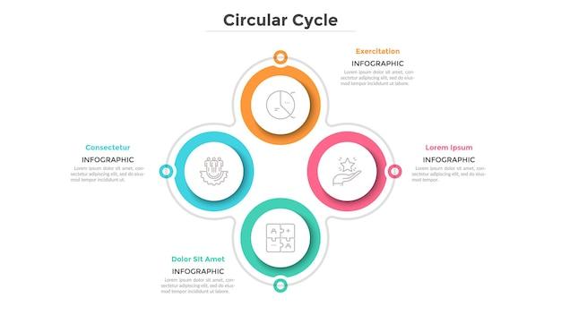 Zyklisches diagramm mit 4 papierweißen kreisförmigen elementen. geschäftszyklus mit vier schritten oder phasen. einfache infografik-design-vorlage. flache vektorillustration für die visualisierung von projektmerkmalen.