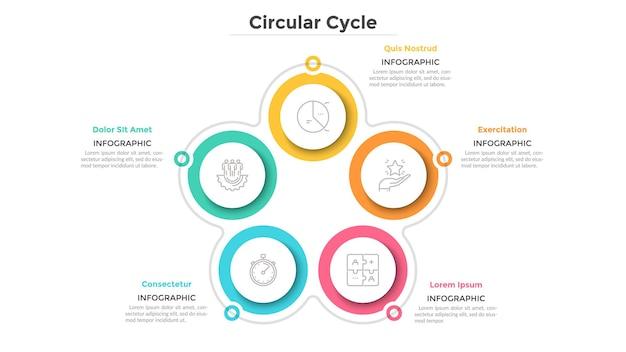 Zyklisches diagramm mit 5 papierweißen kreisförmigen elementen. geschäftszyklus mit fünf schritten oder phasen. einfache infografik-design-vorlage. flache vektorillustration für die visualisierung von projektmerkmalen.